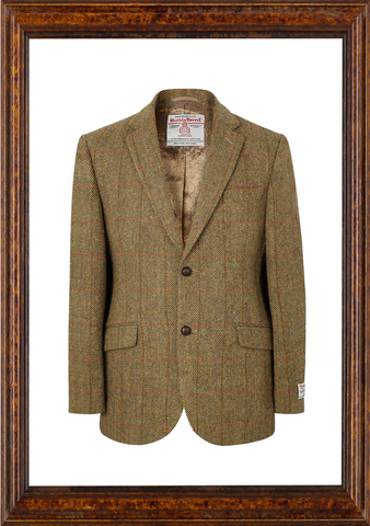 Mens Harris Tweed Jacket - Mustard