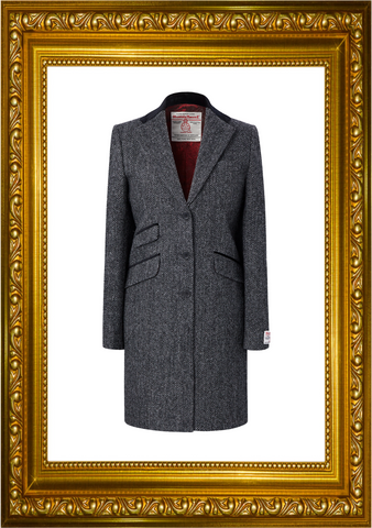 Harris Tweed Ladies Tori 3/4 Coat - Charcoal