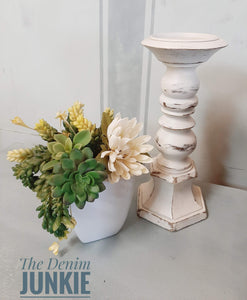 White wood candlestick
