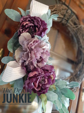 "Load image into Gallery viewer, 20"" lambs ear wreath with purple floral"