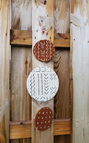 Trio White and Rust Mudcloth