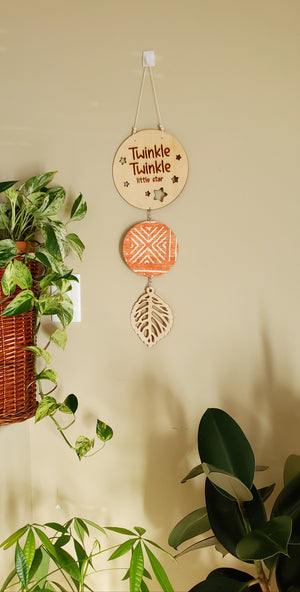Hanging Leaf - Orange Mudcloth