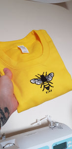 Embroidered bee kind yellow jumper. Childrens and adults