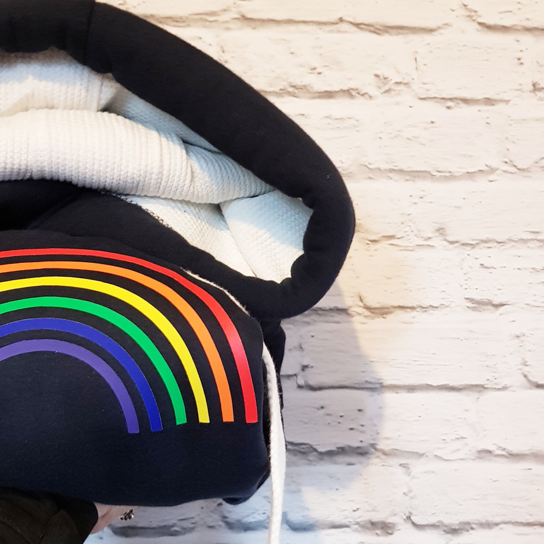 Adults Rainbow Waffle hoodie with thumb holes