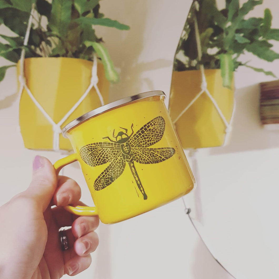 Yellow enamel mug with Lino Print Dragonfly design