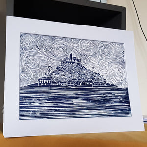 Detailed St Michael's Mount lino print A4