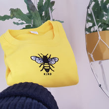 Load image into Gallery viewer, Embroidered bee kind yellow jumper. Childrens and adults