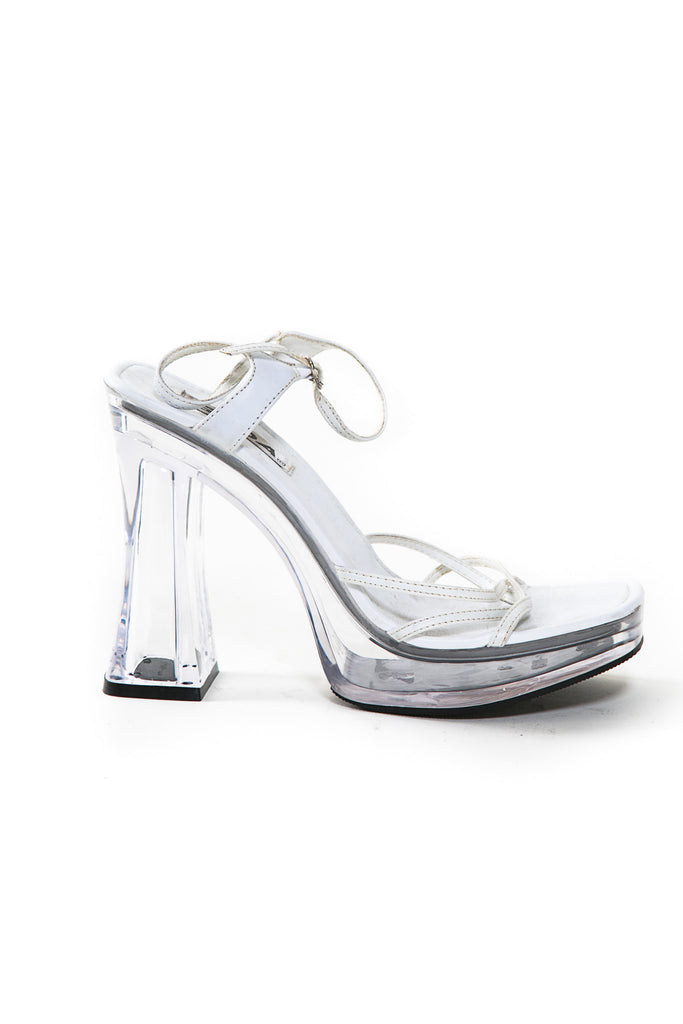Vintage Soda Lucite Heel with White
