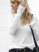 Load image into Gallery viewer, Closer Ribbed Long Sleeve with Thumb Holes in White - The Boutique by Sour Apple Beauty Bar