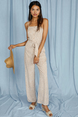 New Wave Jumpsuit | Beige/White - The Boutique by Sour Apple Beauty Bar