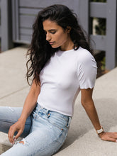 Load image into Gallery viewer, Closer Ribbed Short Sleeve Tee in White - The Boutique by Sour Apple Beauty Bar