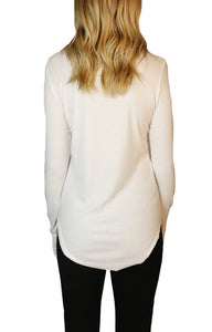 Closer Ribbed Long Sleeve with Thumb Holes in White - The Boutique by Sour Apple Beauty Bar