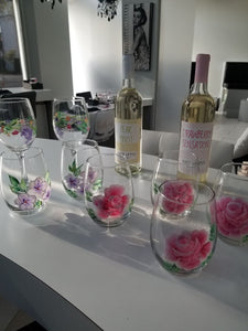 Hand Painted Glasses-Stemless - The Boutique by Sour Apple Beauty Bar