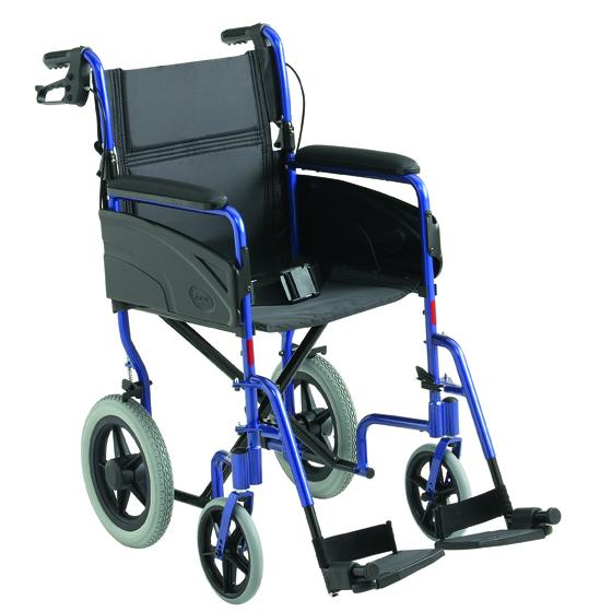 Blue framed transit wheelchair with black seat and footrest