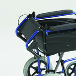 Close up of blue framed wheelchair, back folded