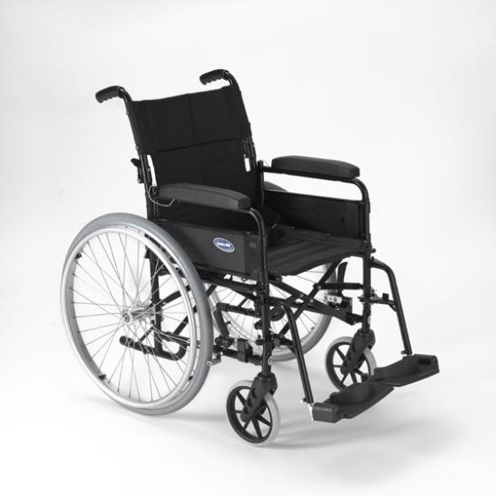Black self-propelled wheelchair with black footrest on a  white background