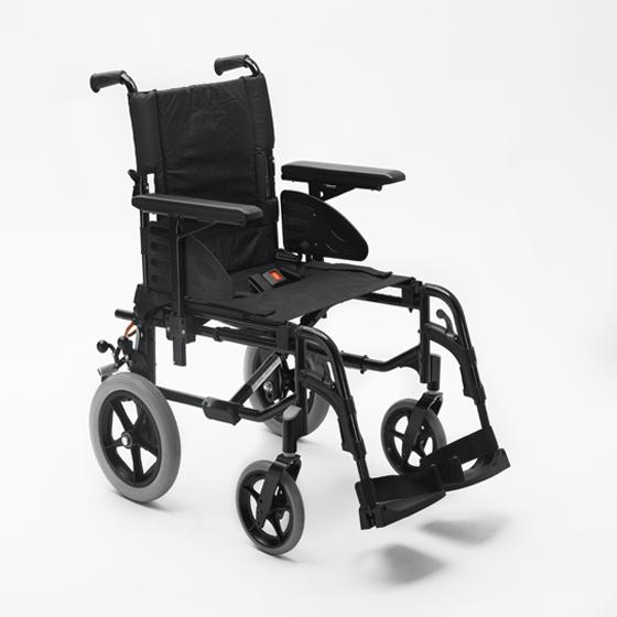 Black transit wheelchair with black footrest on a  white background