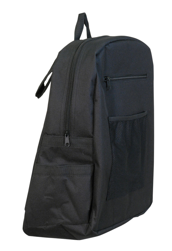 Black canvas wheelchair bag with top zipper and front compartments