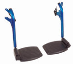 Black footrest with blue tubular frame on a white background - upright