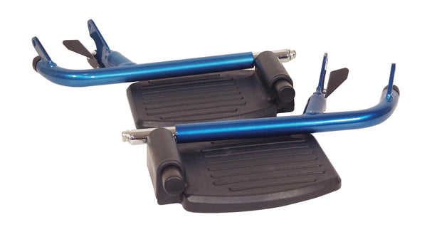 A black footrest with blue tubular frame on a white background- folded