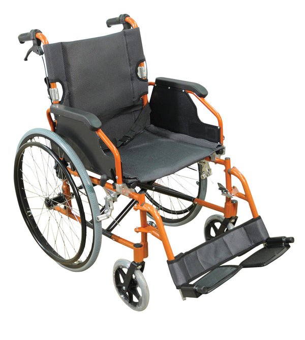 Orange framed self propelled wheelchair with black seat and footrest