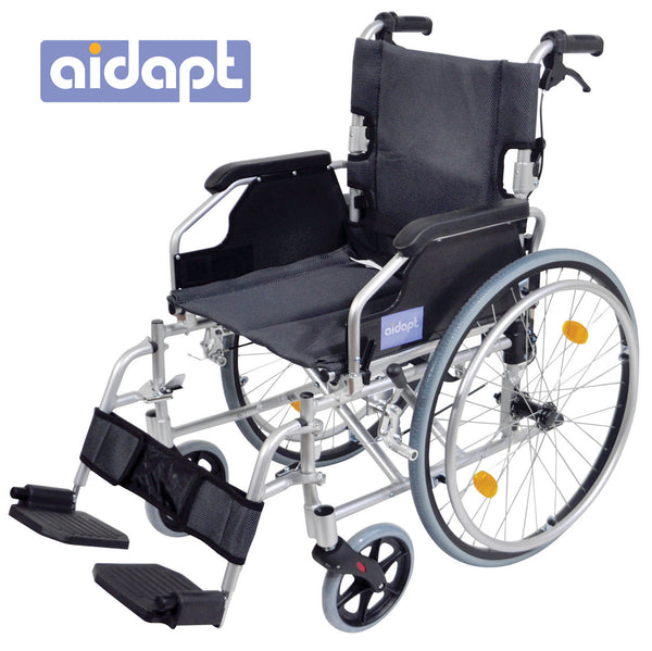 Silver framed self propelled wheelchair with black seat and footrest