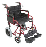 Red finish transit wheelchair with black seat and footrest