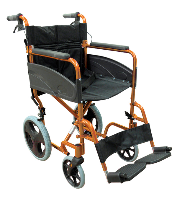 orange framed transit wheelchair with black seat and footrest