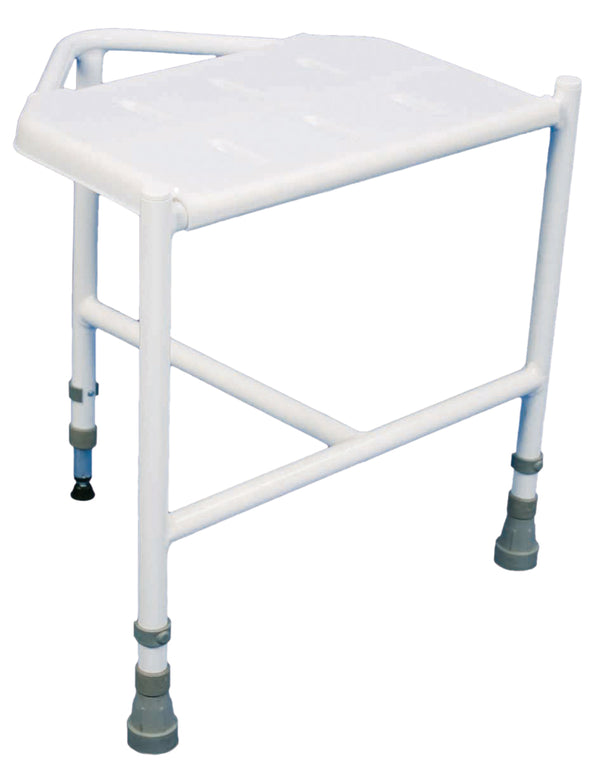 White corner stool with grey ferrule feet