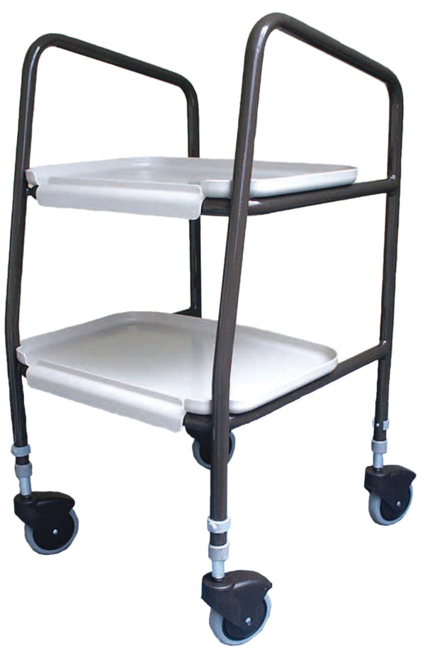Black tubular framed trolley with two white trays and castor wheels