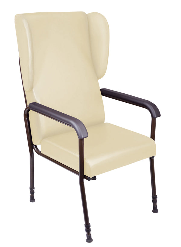 Cream Chelsfield chair with padded seat and high back, black padded arms and black metal frame legs