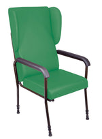 Green Chelsfield chair with padded seat and high back, black padded arms and black metal frame legs