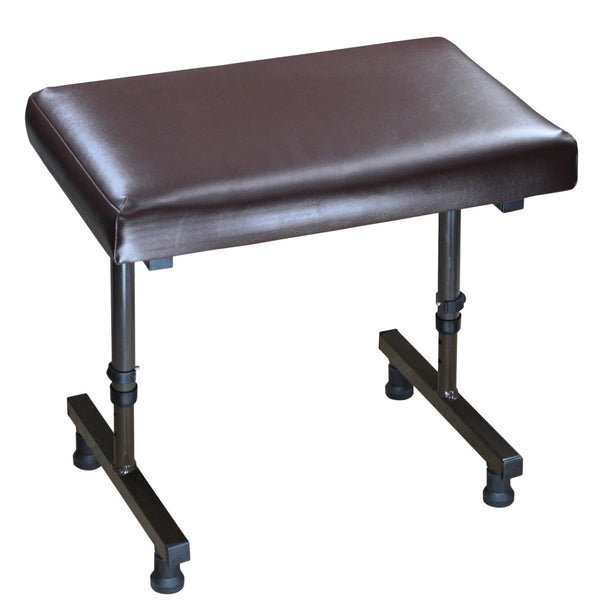 Brown vinyl-topped low stool with adjustable legs