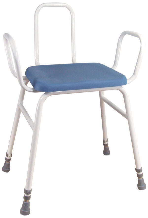 white framed perching stool with blue padded seat and grey ferrule-type feet