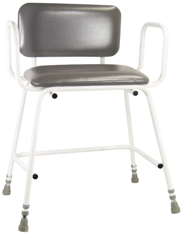 White tubular framed chair with black padded seat and back, and grey ferrule-type feet