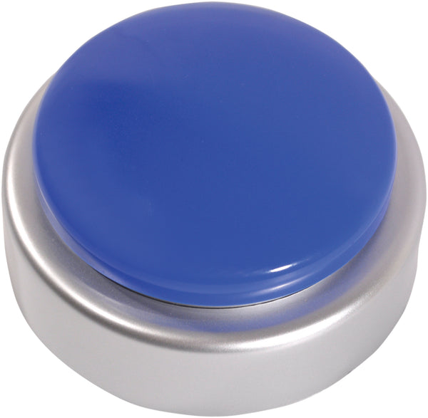 Silver and blue large button alarm on a white background
