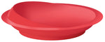 red scoop plate on a white background