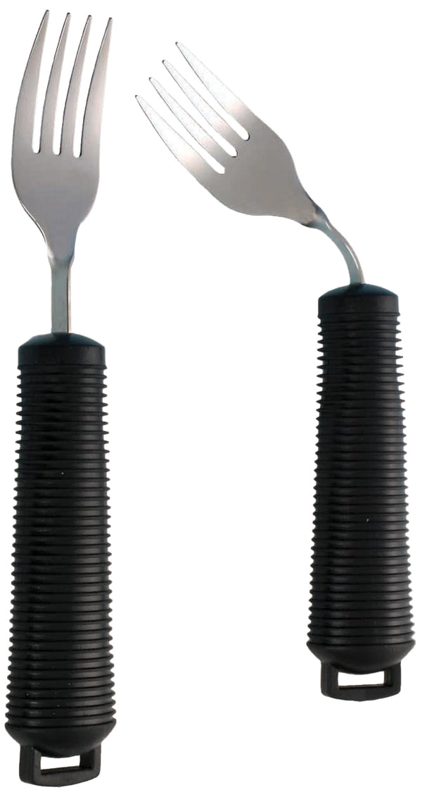 Fork with black ribbed handle shown in straight and bent positions
