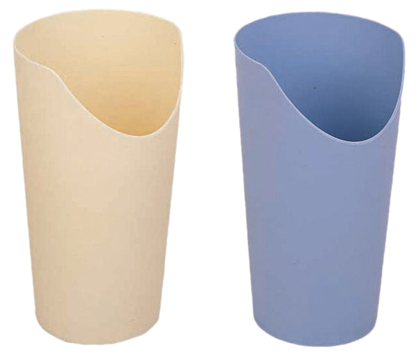 Cream and blue Novo Nose Cutout Cups on a white background
