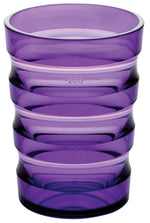 Violet plastic cup with ml indicators