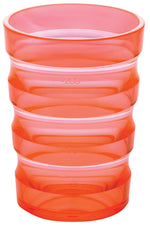 Orange plastic cup with ml indicators
