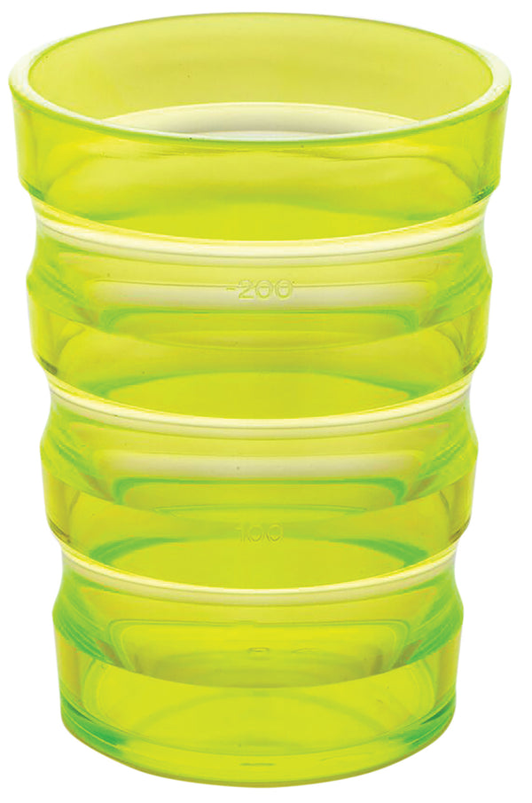 Yellow plastic cup with ml indicators