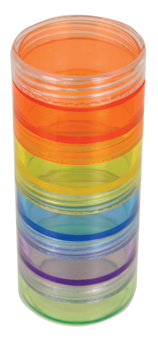 orange, yellow, blue violet and green cylindrical boxes in a tube