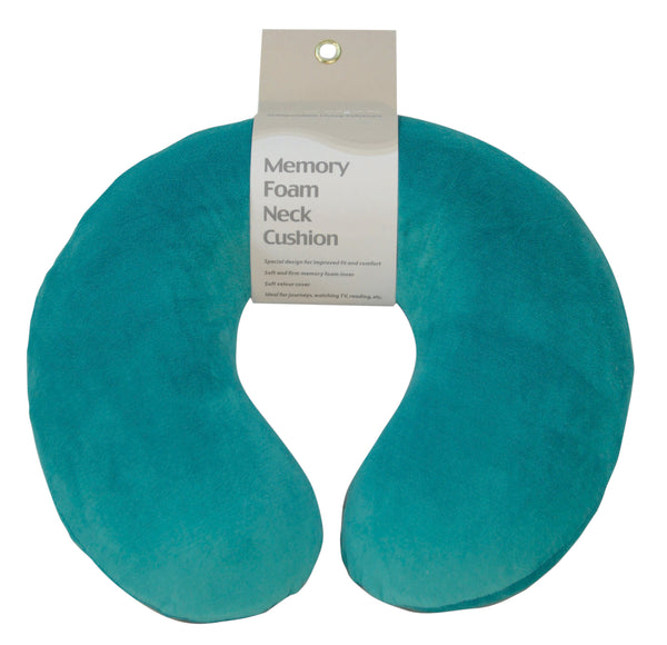 Teal neck/travel cushion on a white background