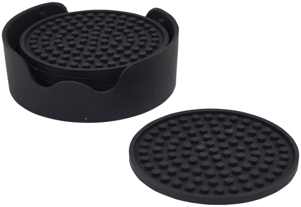 circular block of black silicone coasters on white background