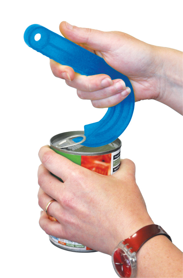 Person using Blue Ring-pull Opener to open a can of tomatoes