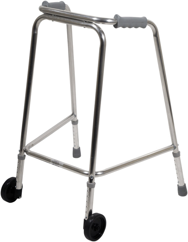 Wheeled children's walker with grey handles on a white background