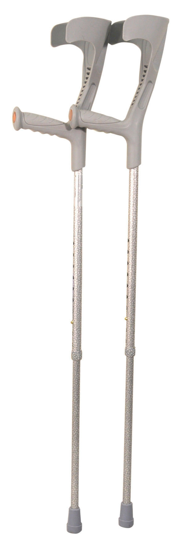 Pair of silver crackle finish crutches with silver-grey elbow rests, handles and ferrules