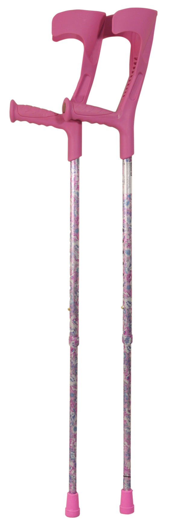 Pair of pink floral crutches with pink elbow rests, handles and ferrules