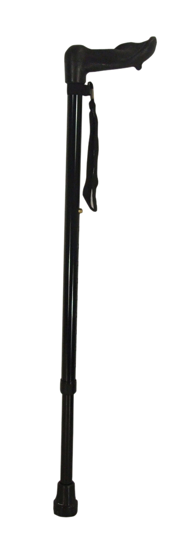 Wooden handled walking stick with black loop and ferrule on a  white background